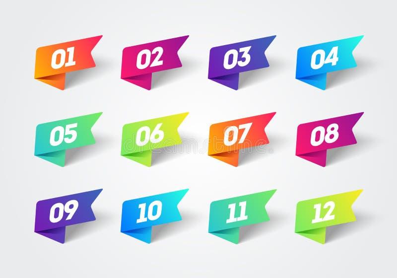 传染媒介数字子弹点1到12五颜六色的标签丝带集合 库存例证