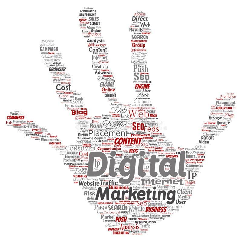 传染媒介数字式营销seo交通手印刷品 向量例证