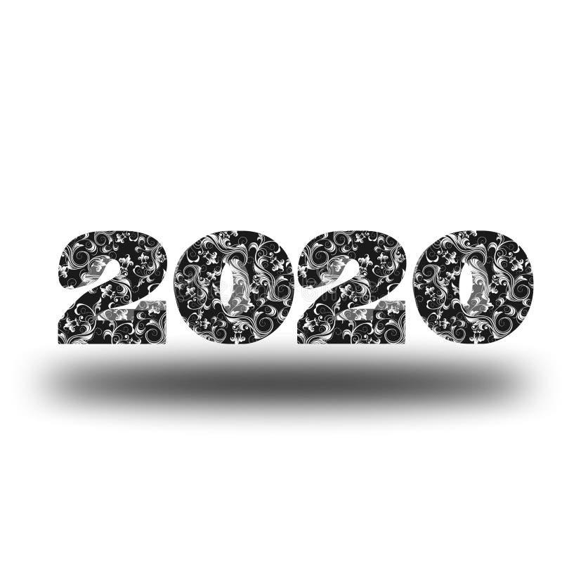 传染媒介新年快乐2020 m 皇族释放例证