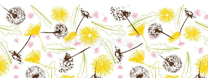 传染媒介新鲜的减速火箭的花卉蒲公英絮球和雏菊无缝的边界 库存例证
