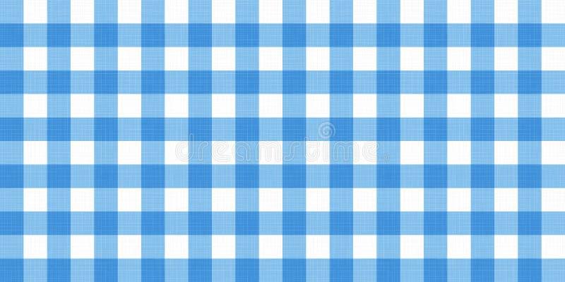传染媒介方格花布镶边方格的一揽子桌布 与自然textil的无缝的白色蓝色桌布餐巾样式背景 向量例证
