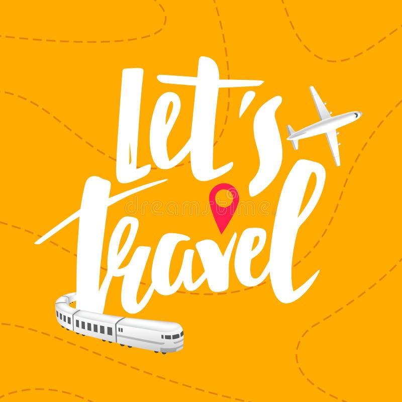 传染媒介旅途横幅概念 让我们旅行手拉的刺激呼吁 旅行例证 飞机和火车远航 向量例证