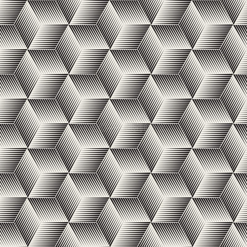 传染媒介无缝的半音线马赛克样式 现代时髦的抽象纹理 重复几何菱形瓦片 皇族释放例证