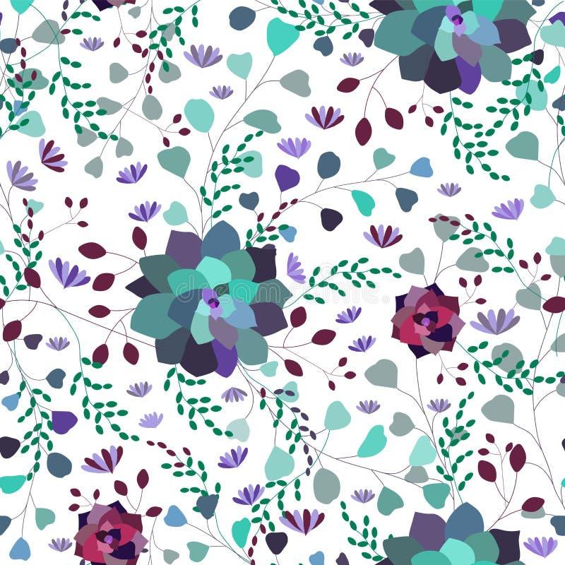传染媒介无缝的印刷品,与花的样式,叶子,叶子,在透明背景的多汁植物 向量例证