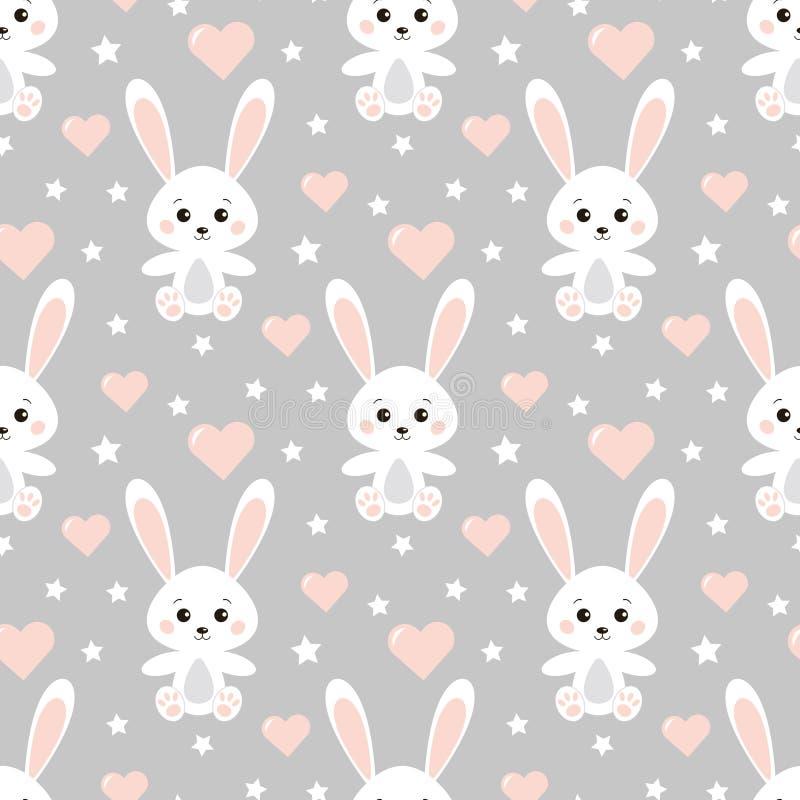 传染媒介无缝的可爱的浪漫样式用逗人喜爱的兔子,心脏,在灰色背景的星 库存例证