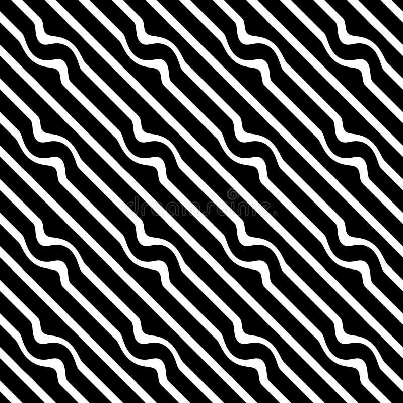 传染媒介无缝的对角线黑白的样式 抽象背景墙纸 也corel凹道例证向量 盖子,线 向量例证