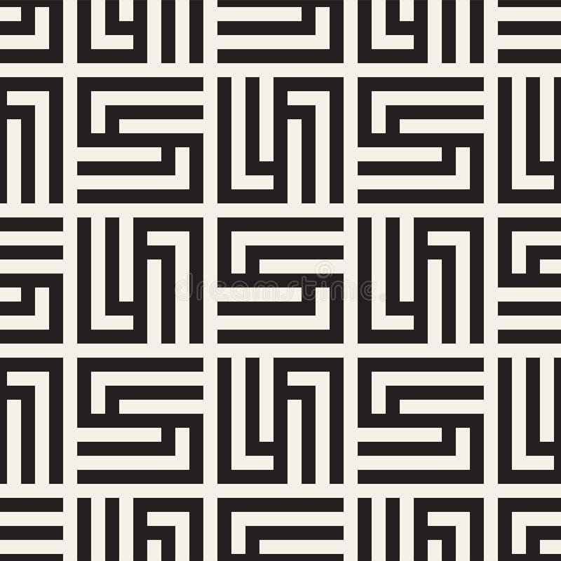 传染媒介无缝的微妙的格子样式 与单色格子的现代时髦的纹理 重复几何栅格 库存例证