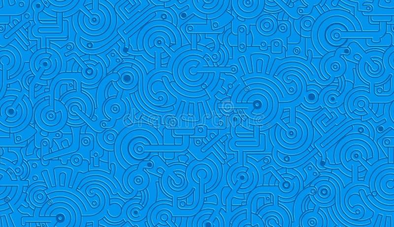 传染媒介无缝的机械样式纹理 查出 Steampunk 蓝色 皇族释放例证