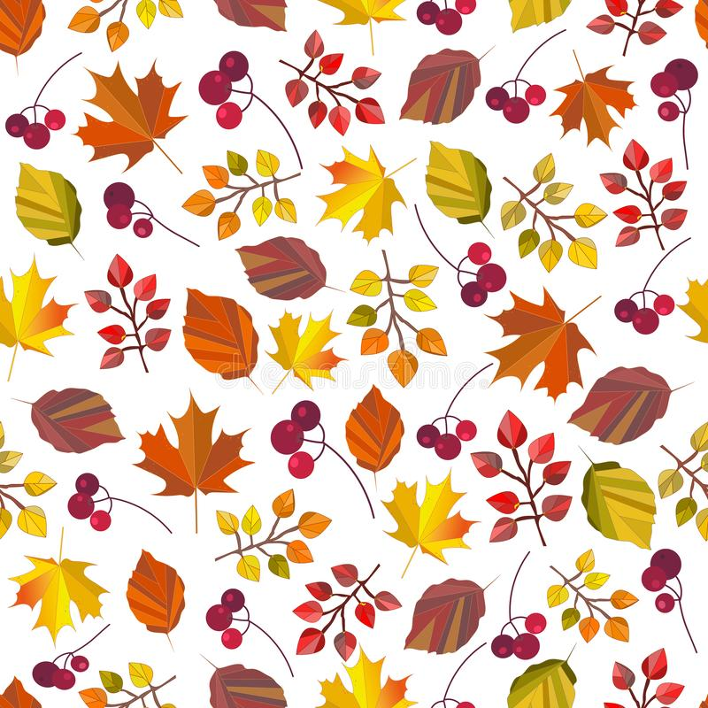 传染媒介无缝的样式、印刷品、纹理、背景与秋叶和莓果 秋天颜色 秋天设计 库存例证
