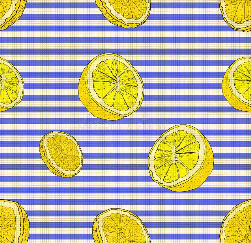 传染媒介无缝的样式、柠檬、柑橘背景,Stiped蓝色和白色背景,亚麻制纺织品纹理 向量例证
