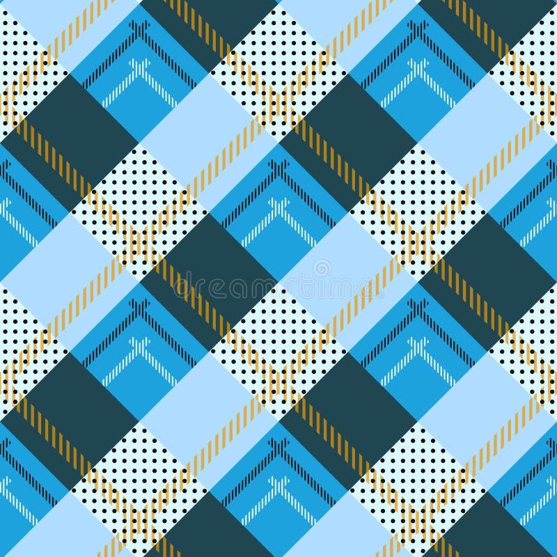 传染媒介无缝的样式喀里多尼亚苏格兰格子呢,黑,白色,蓝色黄色,绿色红色 皇族释放例证