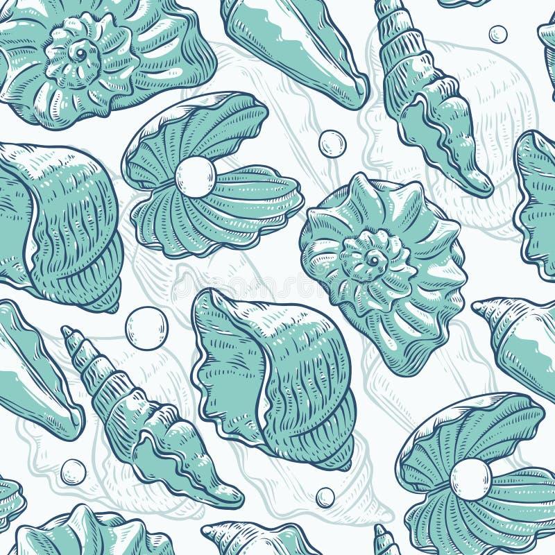 传染媒介无缝的样式海壳和珍珠不同的形状 蛤壳状机件黑白照片绿松石概述剪影 向量例证