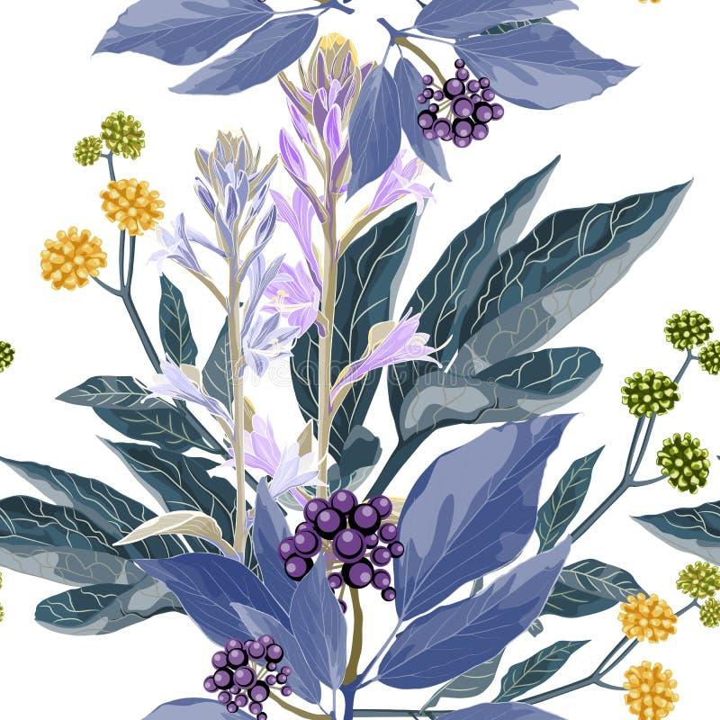 传染媒介无缝的样式用蓝色莓果分支与紫罗兰色叶子、黄色草本和贝耳花 库存例证