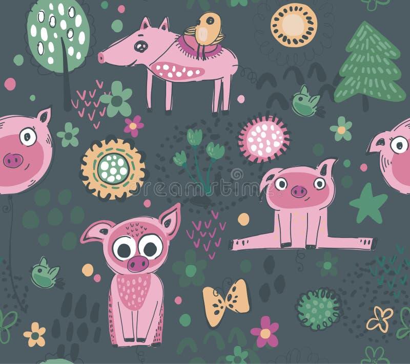 传染媒介无缝的样式用逗人喜爱的小猪,花,树 皇族释放例证
