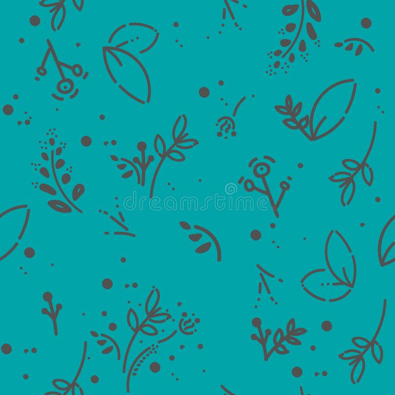 传染媒介无缝的样式,乱画的设计 手凹道草本和叶子 自然例证,逗人喜爱的背景 颜色乱画 皇族释放例证