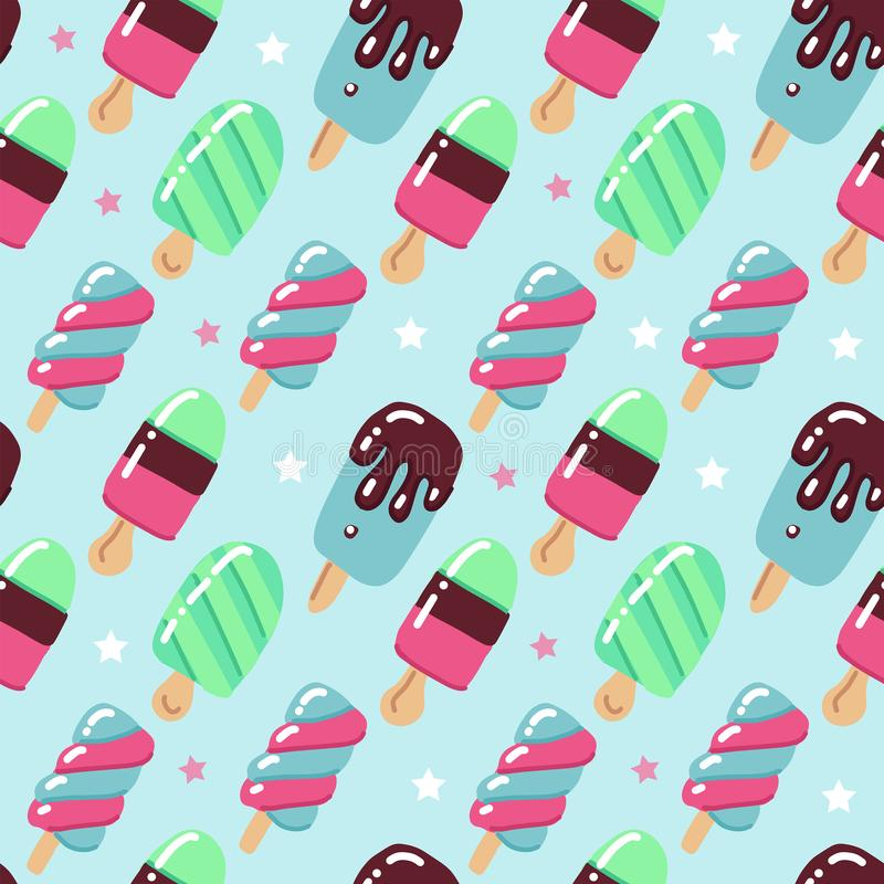 传染媒介无缝的样式,在减速火箭的样式的逗人喜爱的手拉的冰淇淋在被加点的背景 幼稚平的明亮的传染媒介例证 库存例证