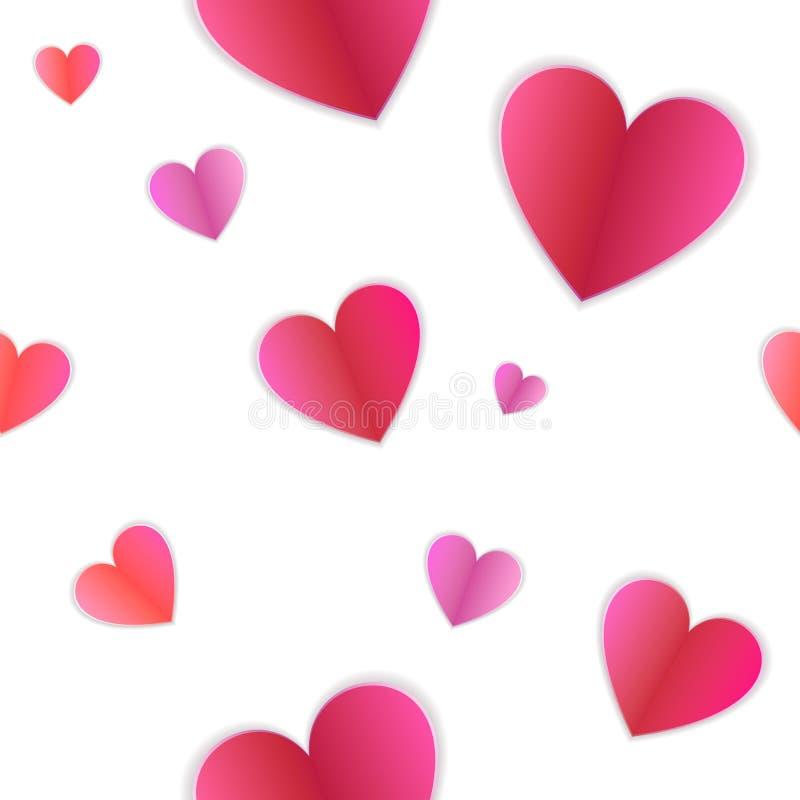 传染媒介无缝的样式,在白色背景,情人节概念的心脏 库存例证