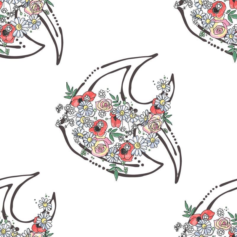 传染媒介无缝的样式,手拉的图表例证背景海洋动物,与花,叶子的鱼略图,乱画 库存例证