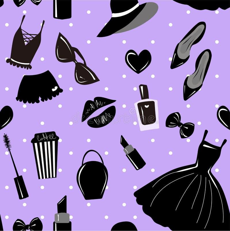 传染媒介无缝的样式,纹理,与女孩时髦的辅助部件,化妆用品,在紫罗兰的妇女材料,紫色,色的淡紫色的印刷品 向量例证