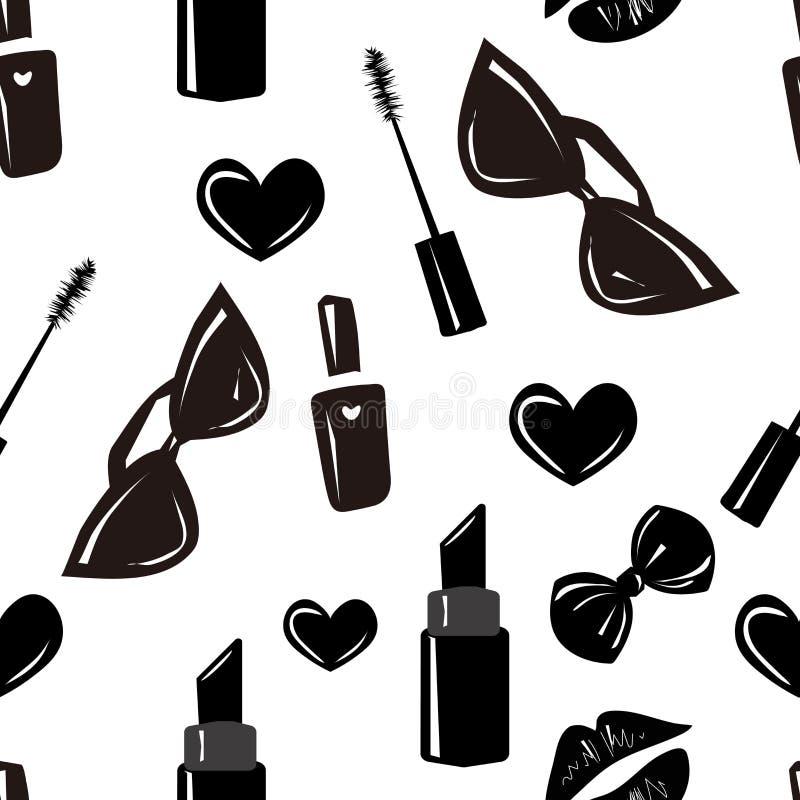 传染媒介无缝的样式,纹理,与女孩时髦的辅助部件,化妆用品,在transparet背景的妇女材料的印刷品 库存例证