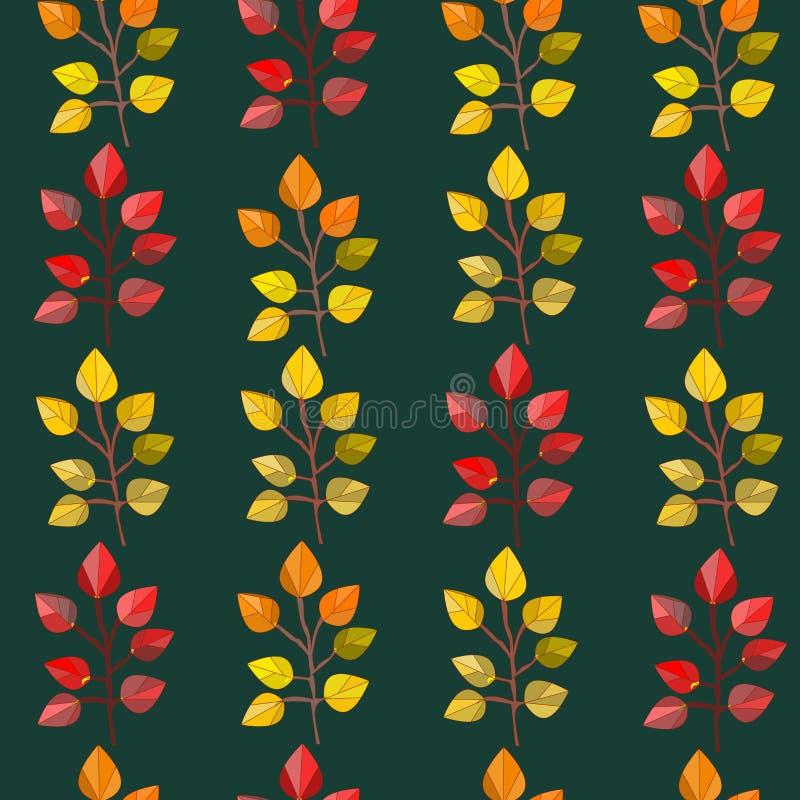 传染媒介无缝的样式,纹理,与秋天叶子的印刷品在被隔绝的黑暗的色的背景 秋天颜色 库存例证