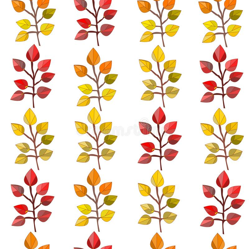传染媒介无缝的样式,纹理,与秋天叶子的印刷品在透明背景 秋天颜色 皇族释放例证