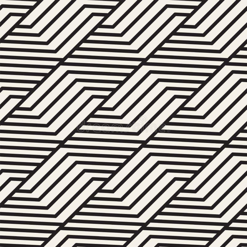 传染媒介无缝的格子样式 与单色格子的现代时髦的纹理 重复几何栅格 简单的设计 库存例证