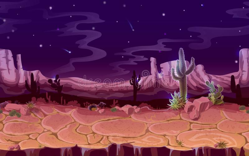 传染媒介无缝的沙漠夜水平的风景 向量例证