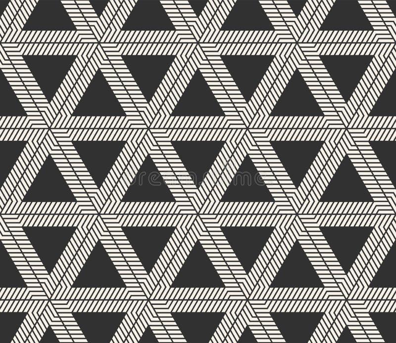 传染媒介无缝的线样式 现代时髦的三角塑造纹理 重复几何瓦片 库存照片