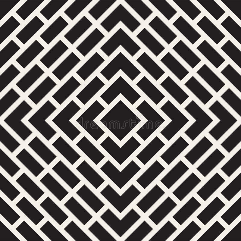 传染媒介无缝的线样式 现代时髦的抽象纹理 重复有条纹元素的几何瓦片 向量例证