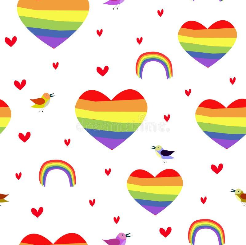 传染媒介无缝patttern与彩虹心脏 自豪感天 向量例证