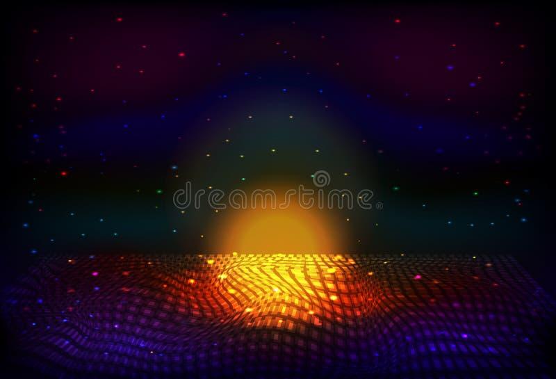 传染媒介无边无际的空间夜背景 矩阵发光担任主角与深度和透视幻觉  向量例证