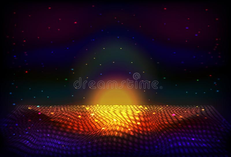 传染媒介无边无际的空间夜背景 矩阵发光担任主角与深度和透视幻觉  库存例证