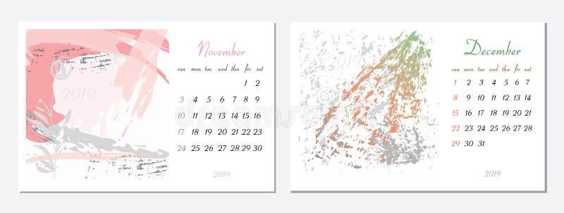 传染媒介日历在2019年 设置2个月,2手拉的纹理 星期天星期开始 2019传染媒介模板的日历 皇族释放例证