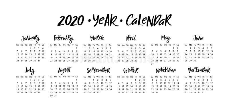 传染媒介日历计划者2020年与手写的在上写字的月 在白色背景隔绝的文具设计 向量例证