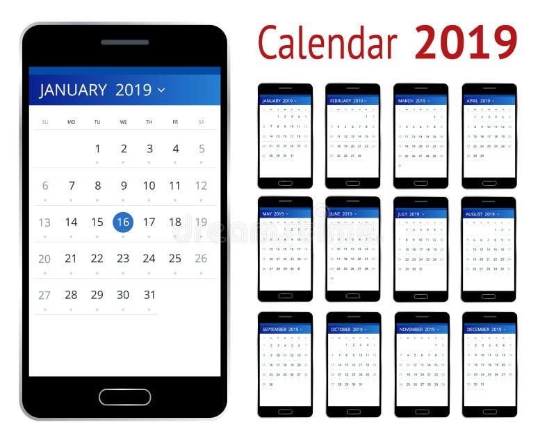 传染媒介日历2019年 有日历的智能手机,一个月计划 设计印刷品模板 套12日历 皇族释放例证