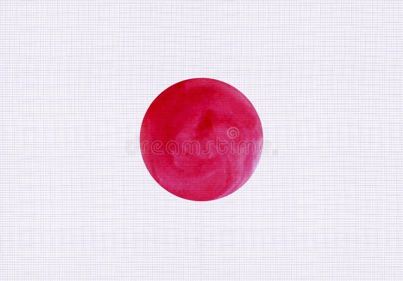 传染媒介日本旗子,亚麻制纺织品纹理背景,水彩红色圈子 库存例证