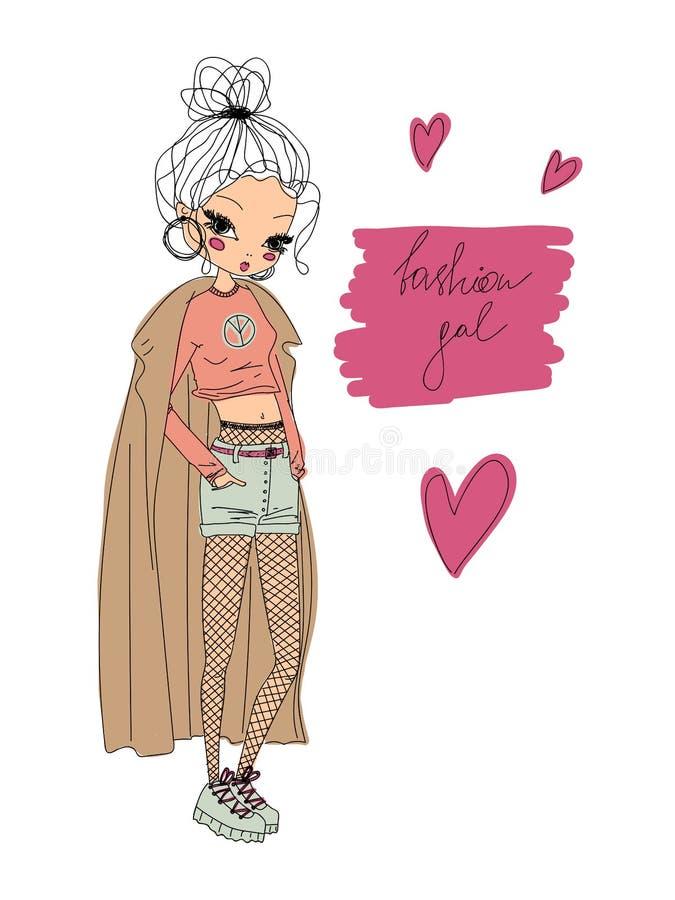 传染媒介时尚女孩线性例证 五颜六色的时尚女孩手拉在穿时髦的衣裳,时尚gal的线艺术 向量例证