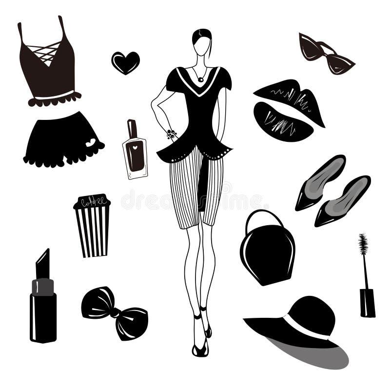 传染媒介时尚汇集,集合 女孩时髦的辅助部件,化妆用品,妇女材料 礼服,袋子,唇膏,sunglass,帽子,内衣,头发a 向量例证