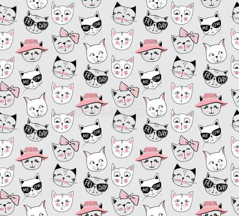 传染媒介时尚猫无缝的样式 逗人喜爱的小猫例证 免版税库存照片