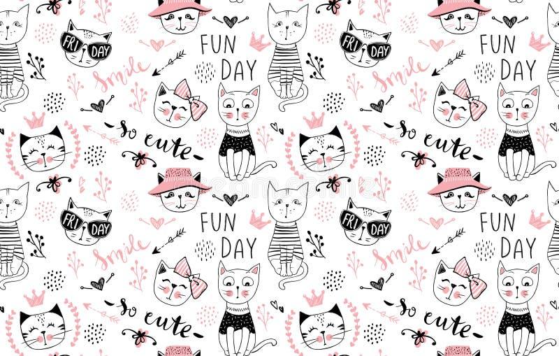传染媒介时尚猫无缝的样式 逗人喜爱的小猫例证 库存照片