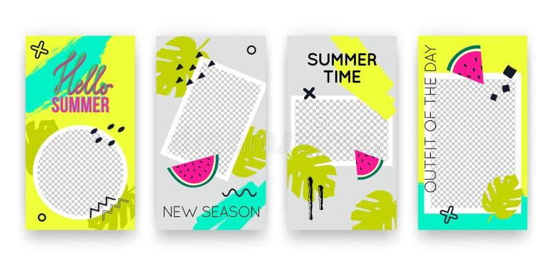 传染媒介时髦热带编辑可能的套社会媒介网络故事的模板 飞行物的现代夏天设计背景 库存例证