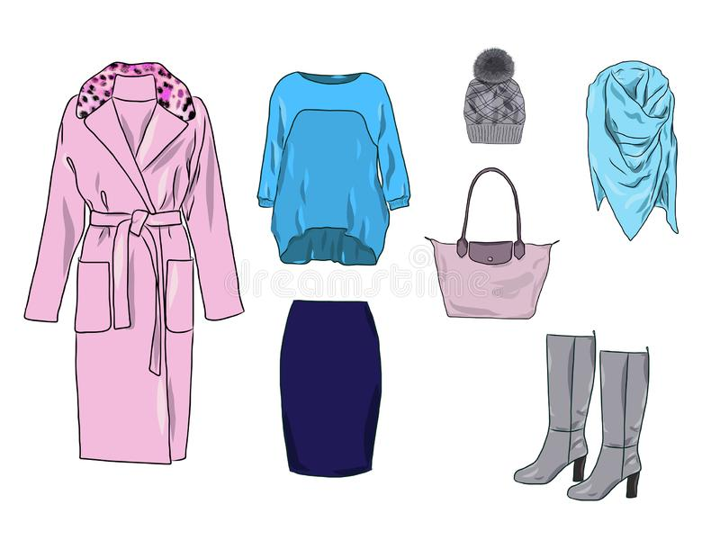 传染媒介时髦的时尚套妇女衣裳 库存例证