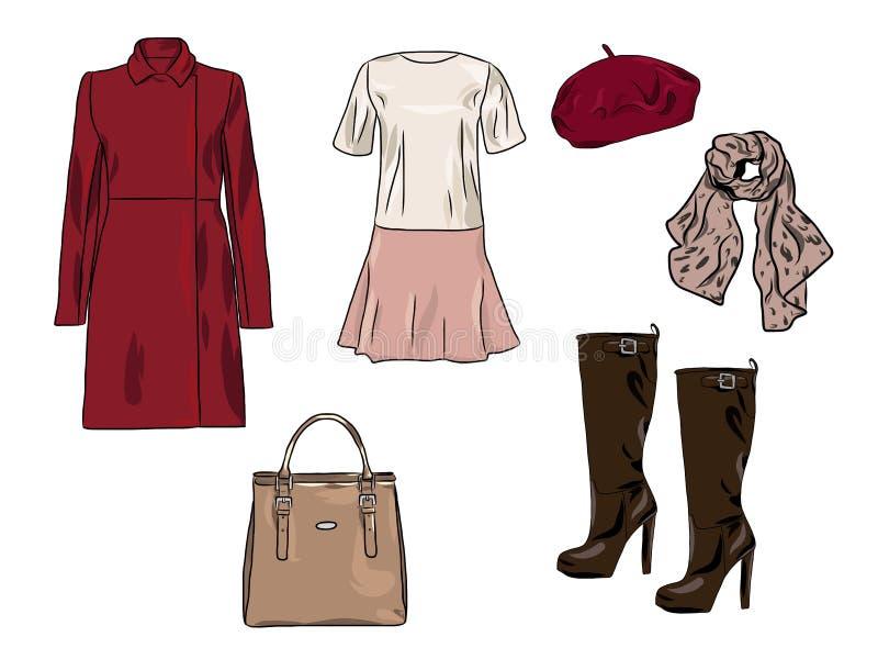 传染媒介时髦的时尚套妇女` s秋天、春天或者冬天衣裳和辅助部件 有礼服的,外套偶然五颜六色的成套装备, 向量例证