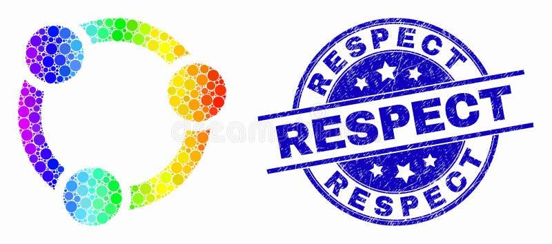传染媒介明亮的被加点的合作象和困厄尊敬封印 向量例证
