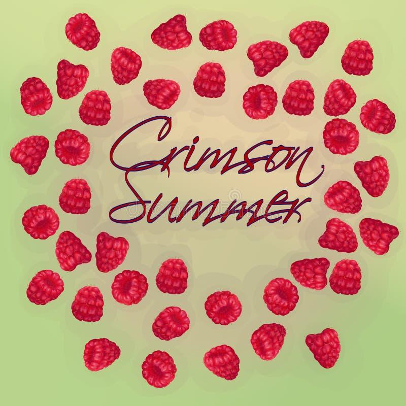 传染媒介明信片邀请用手拉的现实莓,象油漆,水多的颜色,开胃,新鲜,鲜美 库存例证