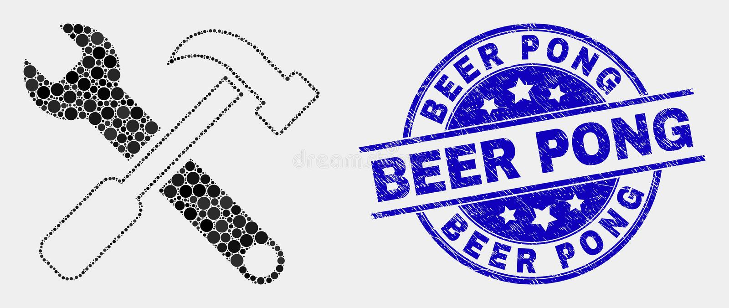 传染媒介映象点用工具加工象和难看的东西啤酒Pong封印 皇族释放例证