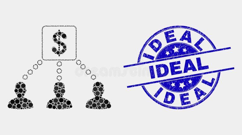 传染媒介映象点财政客户链接象和被抓的理想的邮票封印 库存例证