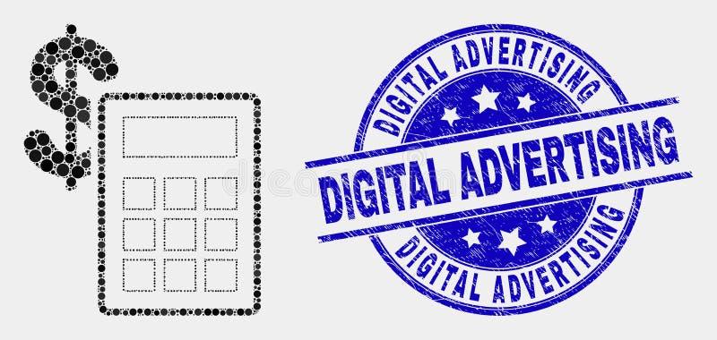 传染媒介映象点财政计算器给象和被抓的数字封印做广告 库存例证