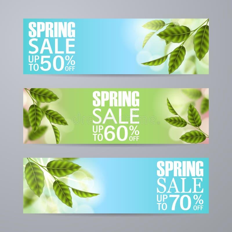 传染媒介春天与草,绿色叶子,题字的销售横幅 向量例证